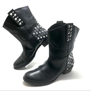BAKERS black leather studded moto boots